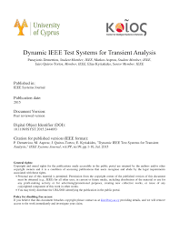 Pdf Dynamic Ieee Test Systems For Transient Analysis
