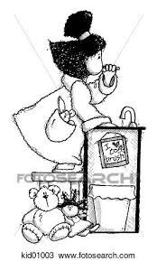brushing teeth drawing. Contemporary Brushing Drawing Of Girl Brushing Teeth Before Bedtime With Brushing Teeth U