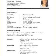 Resume Sample For Job Application Filipino Best Simple Filipino ...