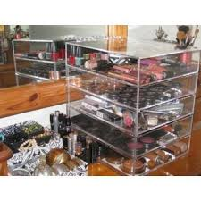 clear acrylic cosmetic makeup organizer with 4 drawers flip top