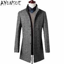 Long Trench Coat Men Brand Clothing Real Rabbit <b>Fur</b> Turn Down ...