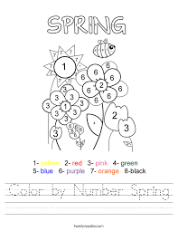Color by Number Spring Worksheet - Twisty Noodle