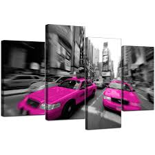 Pink Living Room Set New York Canvases In Black White Pink For Bedroom