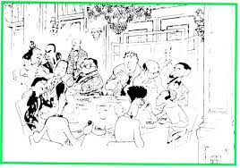 the roundtable at the algonquin hotel nyc by al hirschfeld from left clockwise dorothy parker robert benchley alexander woollcott franklin p adams