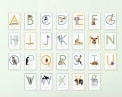 alphabet picture cards alphabet wall cards etsy