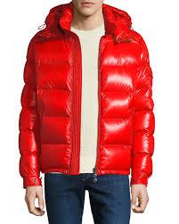 moncler men s maya shiny down puffer jacket with hood