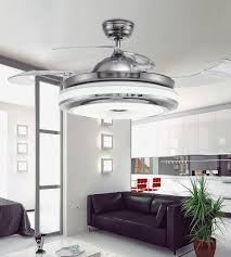 2018 invisible retractable blades chrome ceiling fan 42 inch modern simple fan chandelier with lights for