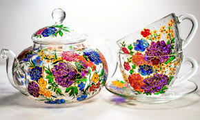 Beautiful Flower Designs For Glass Painting Hand Painted Glass Mugs And Teapots Will Brighten Up Your