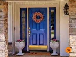 traditional single 36x80 fiberglass front entry door with 2 sidelights total width 64 inches