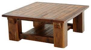 barnwood coffee table with shelf