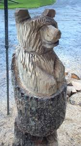 custom made small natural chainsaw carved stump bear