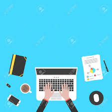 designer office desk isolated objects top view. Hands And Office Objects On Blue Desk Top. Concept Of Teamwork, Audit, Coworking Designer Isolated Top View