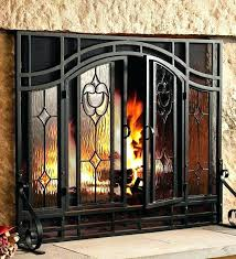 glass fireplace cover screen all with doors stained covers glass fireplace cover