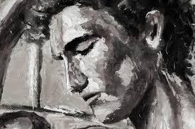 black and white abstract head portrait original oil painting on canvas modern impressionism art