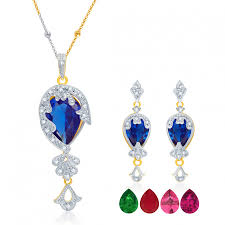 ara youthful gold and rhodium plated cz pendant set with set of 5 changeable stone