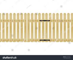 farm fence drawing. Vector Illustration Of A Wooden Fence With Gate. Design, Decoration For Garden And Farm Drawing E