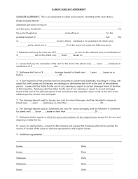 Sublease Agreement Samples Free Illinois Sublease Agreement Template Pdf Word Eforms