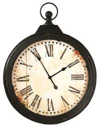 rustic iron large pocket watch wall clock