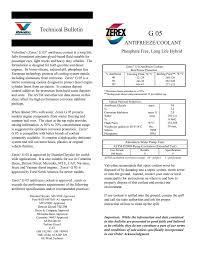 Zerex Coolant Compatibility Chart Zerex G 05 Antifreeze