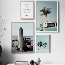 Us 333 43 Offsea Beach Surf Car Coconut Tree Quotes Poster Wall Art Canvas Painting Nordic Posters And Prints Wall Pictures For Living Room In