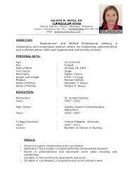 Sample Resume For Filipino Nurses M Curriculum Vitae Mailing Address