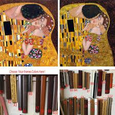 framed gustav klimt paintings the kiss dels portrait oil painting woman hand painted art gift canvas reion room decor novelty toys for kids