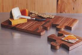 wooden puzzle board cheese serving tray