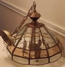 vintage hunter co brass beveled glass chandelier ceiling light fixture 5 light