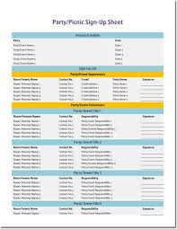 Party Sign Up Sheet Template Signup Sheet Templates 40 Sheets 15 Types Word Excel
