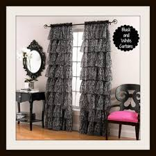 Brilliant Black And White Curtains T Inside Design Ideas