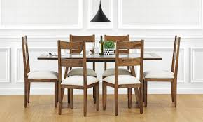 larne 6 seater dining table glass top in india