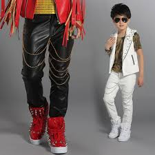 2019 hip hop costume leather pants modern jazz dancing outfits boys trousers hiphop street clothing