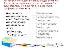 Итоговая контрольная работа по теме Имя существительное класс  Распределите существительные в два столбика 1 существительное пишется с не слитно 2