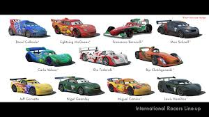 pixar cars characters names.  Cars Disney Cars Characters Pictures And Names  Cars 2 International Racers  Lineup In Pixar Characters Names S