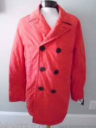 nautica red double ted peacoat coat coastal isles oned new l large