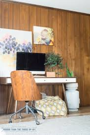 playroom office. Mid-Century Desk In Office With Wood Paneling Playroom