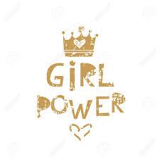 Cute Lettering Card In Cartoon Style Girl Power Inscription