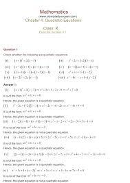 quadratic equation exercise math chapter 4 quadratic equations exercise ncert solutions for class 10 maths quadratic