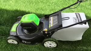 the green works cordless electric lawn mower green works pro 80 volt 21deck review