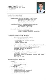 Resume Template College Student Mock Resume Templates Example