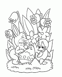 Small Picture Little Bunny And Duck Painting Easter Egg Coloring Page For Kids