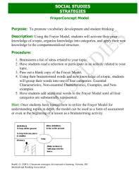 Frayer Model Examples Social Studies Frayer Model Notecards