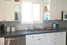 grey and white backsplash image of white kitchen grey tiles dark grey backsplash white cabinets