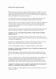 Career Objective Resume Examples Best Of Cover Letter Writing Object
