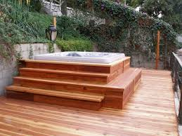 Above Ground Hot Tub Pool With Square Jacuzzi On Cherry Wood Decks