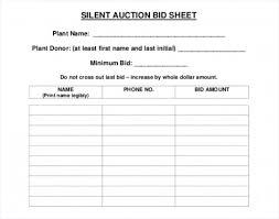 019 Silent Auction Bid Sheet Template Fearsome Ideas Word