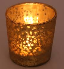 Gold Mercury Glass Tea Light Candle Holder