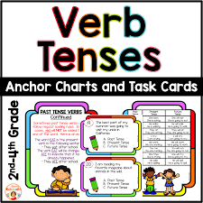 Verb Anchor Chart 4th Grade Verb Tenses Task Cards And Anchor Charts