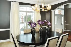 Luxurious White Upholstery Tufted Dining Chairs With Black Oval Dining Table  Also Brass Dining Pendant Lamps As Well As White Dining Room Curtains For  ...