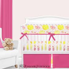 watercolor pink lemonade baby girl crib
